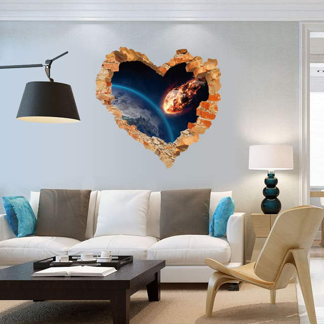 Loving Heart Earth Meet Mars Deep Impact Broken Wall Door Sticker Nursery Kids Room