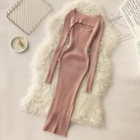 2018 autumn winter new women nightclub dress femlae bright silk stretch knit open chest crewneck long sleeve sheath base dresses