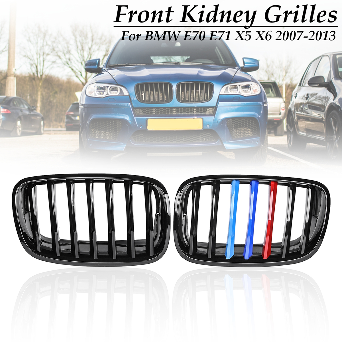 Gloss Black M-Color Slat Front Kidney Grill Grilles for BMW E70 E71 X5 X6 2007 2008 2009 2010 2011 2012 2013 2007 2013 kidney shape matte black abs plastic e70 e71 original style x5 x6 front racing grill grille for bmw e70 x5 bmw x6