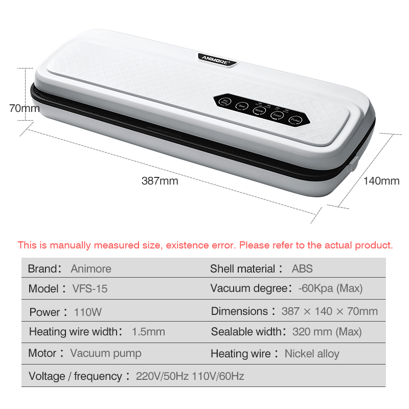 ANIMORE Food Vacuum Sealer Machine With 10pcs Bags Free 220V/110V For Food Saver Home Electric Vacuum Sealer Packaging Machine