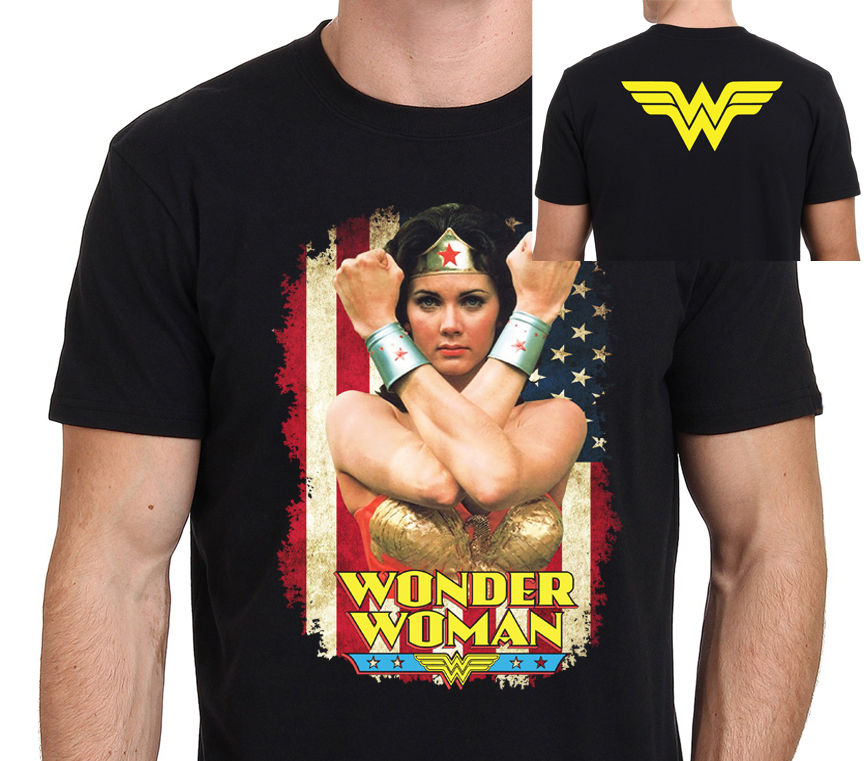 2018 короткий рукав хлопковые футболки Человек Костюмы Wonder Woman Линда Картер классика 80-х одежда «Супергерои» Значок Футболка Размеры S-3XL