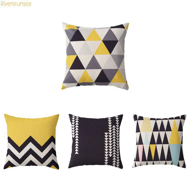 Nordic Style Geometric Cushion Simple Yellow Gray Triangular Black And White Stripe Printed Decorative Throw Pillows For Sofa