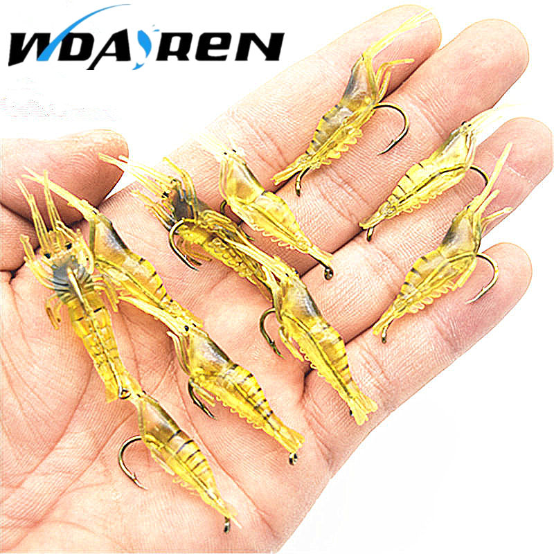 10pcs/ lot hooked spinner bait soft bait shrimp luminous soft bait worm lures fishing bait fishing gear bionic Lure FA-346 50pcs new wifreo soft lure loader locker connector fishing worm hook bait accessories for bass fishing wholesale