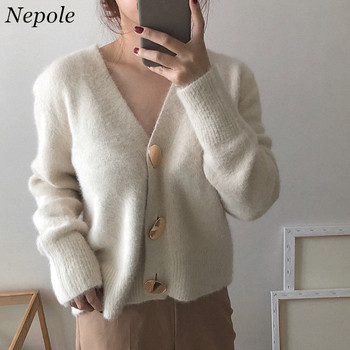 Neploe Big Button V-Neck Modis Cardigan Solid Knitted Fashion Women Sweaters 2019 Spring Autumn Elegant Grace Sueter Mujer 69694 cardigan