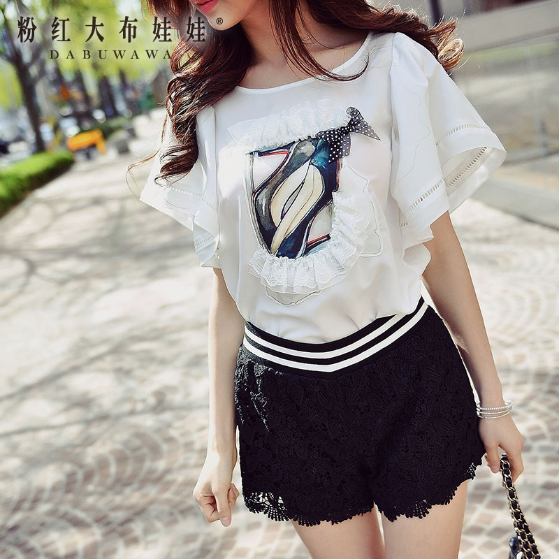 dabuwawa white font b shirt b font summer 2017 shoes printed flare sleeve korean round neck