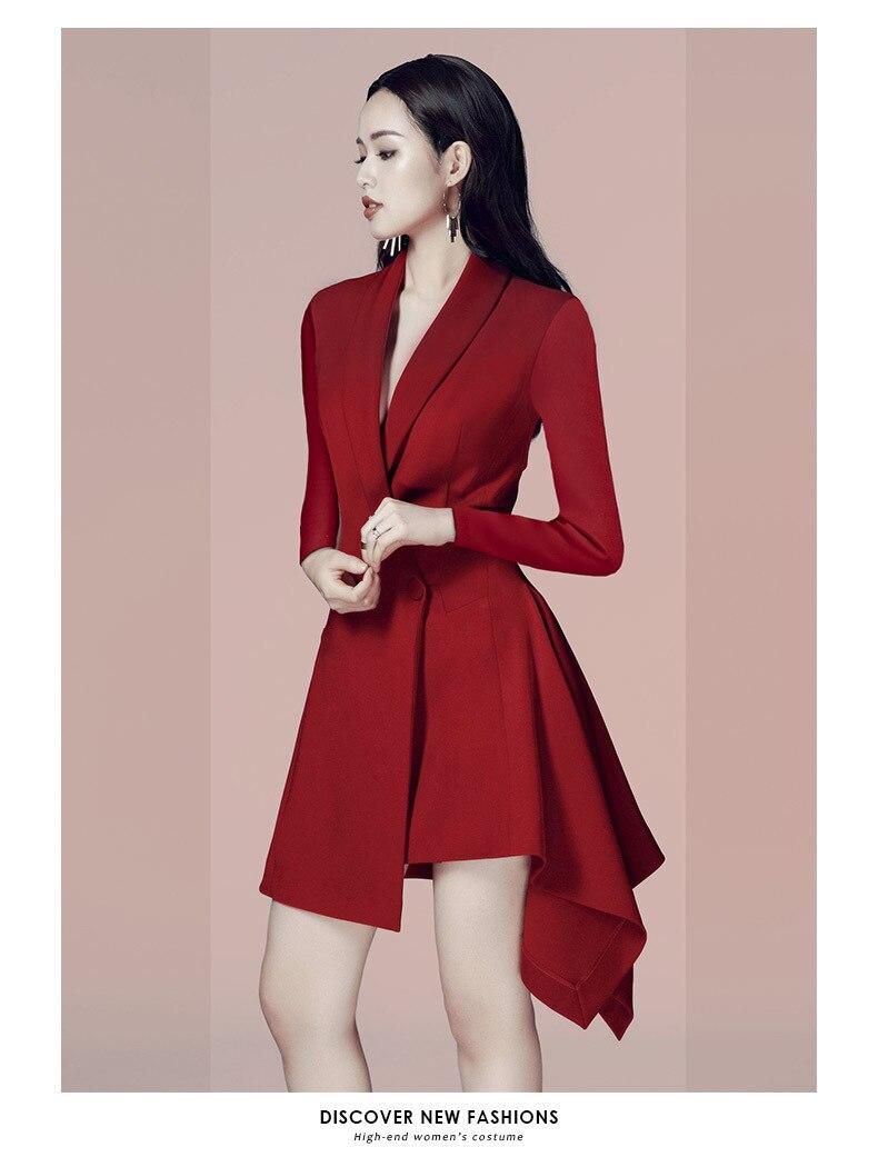 Manches Genou bourgogne Noir Q507 down longueur 2019 Élégante Mode Robe Longues Sprin Robes Blazer Turn Femmes Collar Irrégulière Casual wxwC4PO