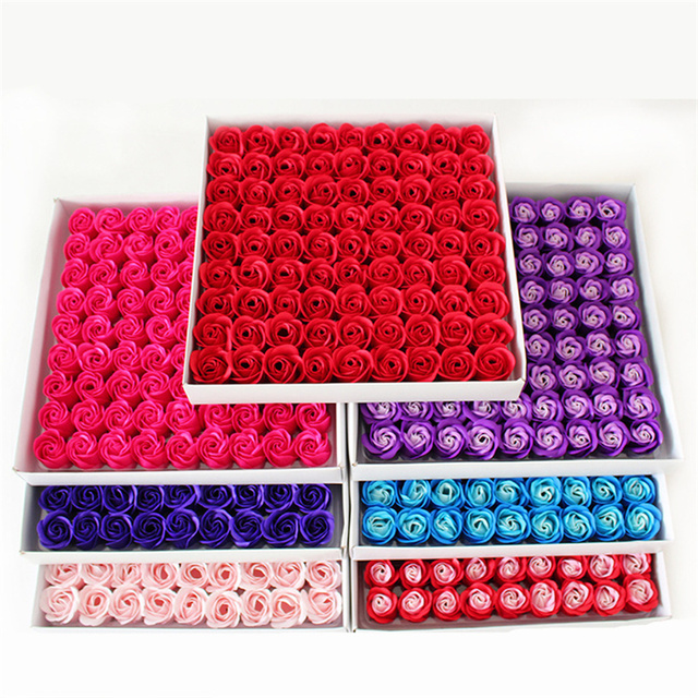 81Pcs Rose Soap Flower Head Handmade Flowers Eternal Flower Mother's Day Wedding Valentine's Day Home Decoration Gift Box Wholes