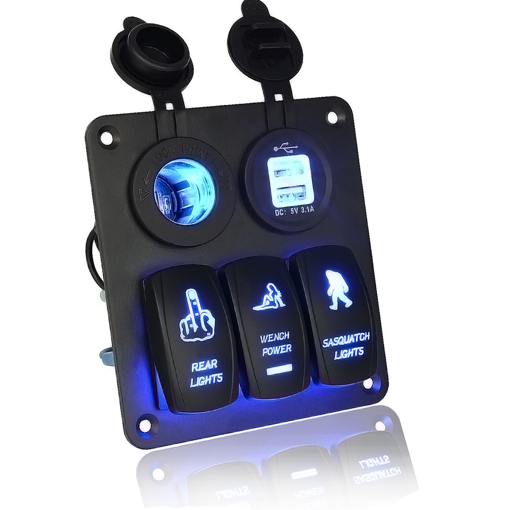<font><b>Marine</b></font>/Boat Car Switch Panel 3 Gang with Cigarette Socket and Dual USB Slot Blue LED light On/Off Rocker Switch