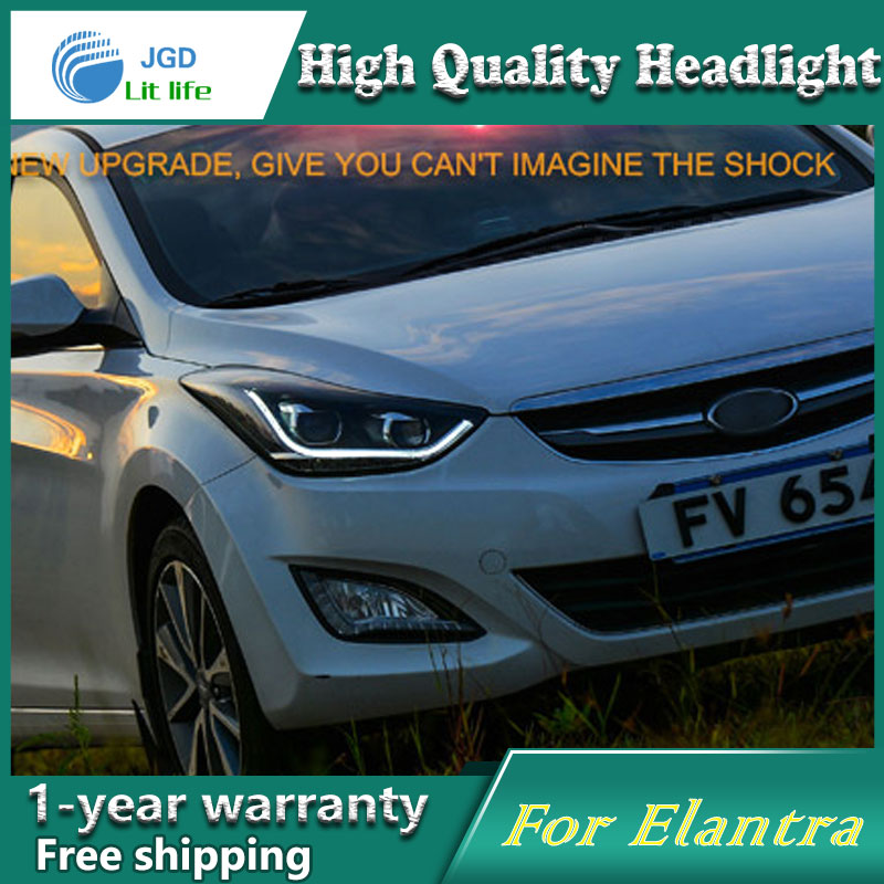 Car styling case for Hyundai Elantra 2011-2014 Headlights LED Headlight DRL Lens Double Beam HID Xenon Car Accessories car accessories luxury sports door wrist bowl stick handle decorative exterior smooth paste for hyundai elantra 2012 2016
