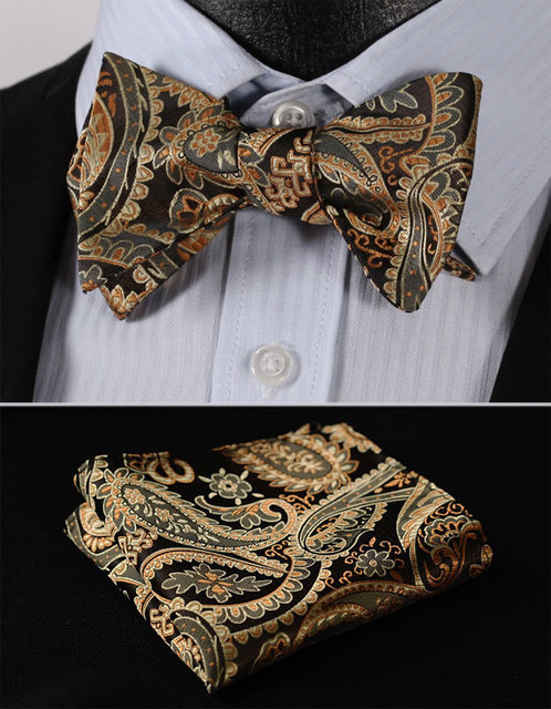 89ffcd70e352 BF4011D Gold Paisley Floral Classic 100%Silk Jacquard Woven Men Self Bow Tie  BowTie Pocket