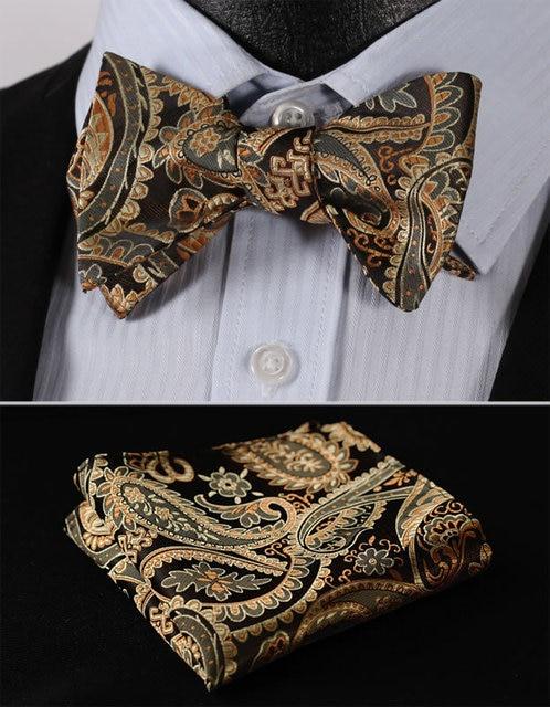 923ab4c7496a BF4011D Gold Paisley Floral Classic 100%Silk Jacquard Woven Men Self Bow  Tie BowTie Pocket