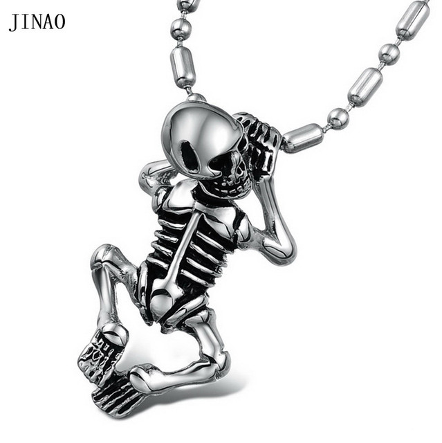 JINAO JEWELRY Fashion Necklaces & Pendants COOL MEN Human Skeleton Pendant  Ghost Pendants Personality Necklace.