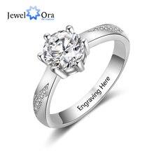 Классическое Обручальное кольцо, индивидуальный подарок, выгравированное имя, 925 пробы, серебряные кольца для женщин, ювелирные изделия на годовщину(JewelOra RI103758