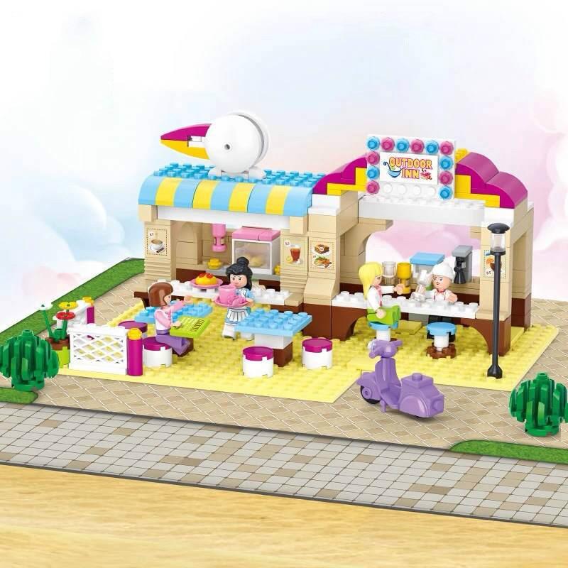 Sluban 0530 Pink Dream Series Outdoor Restaurant  DIY Enlighten Building Block Sets Model Toys Compatible With Legoe sluban pink dream girls