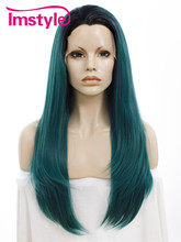 Imstyle Straight Synthetic Dark root Green 24 Inches long lace front cosplay wigs for black women