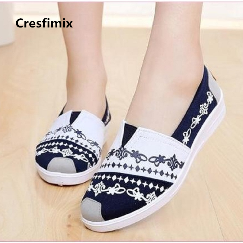 Cresfimix sapatos femininas women fashion high quality spring & summer slip on canvas shoes lady casual white cloth shoes a667 cresfimix sapatos femininas women casual black spring