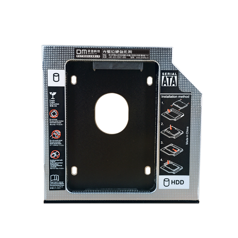 DM HDD Caddy DW127S 12 7mm Aluminum Optibay SATA 3 0 Hard Disk Drive Box Enclosure