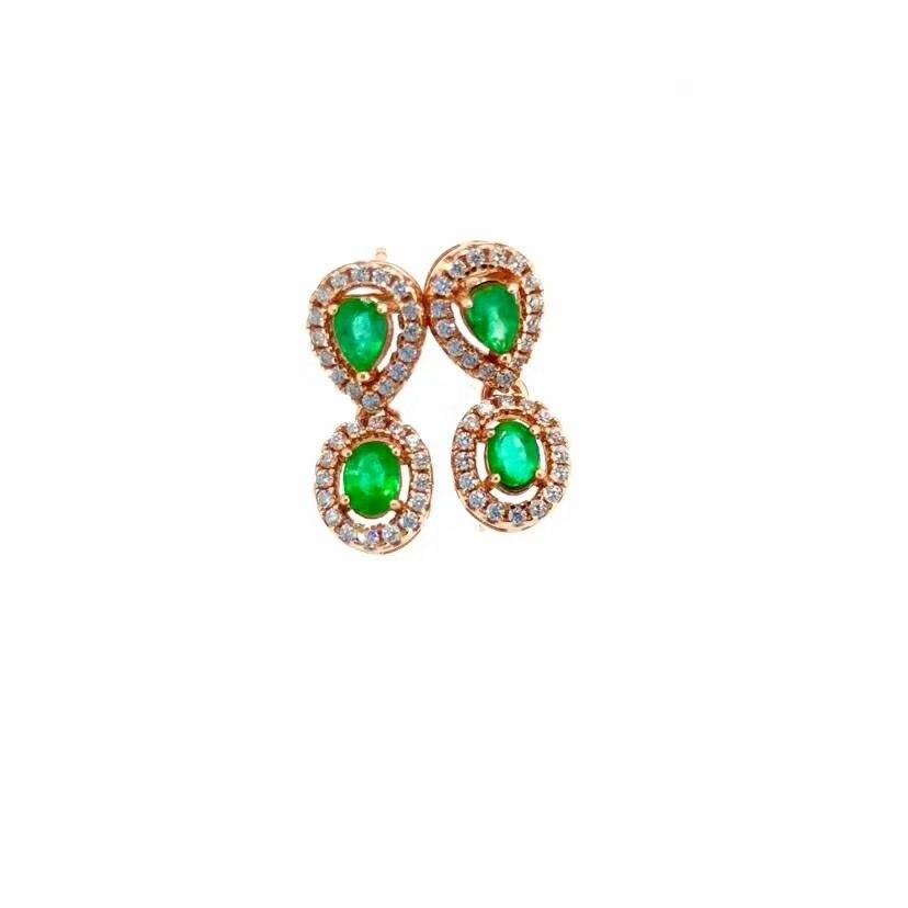 SHILOVEM 925 sterling silver Natural green Emerald drop earring fine Jewelry women wedding new wholesale 3*4mm yhe030401agml