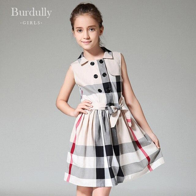 fa20c860787c9 Adolescente filles robes d été 12 ans britannique style grille robes  enfants costumes pour fille