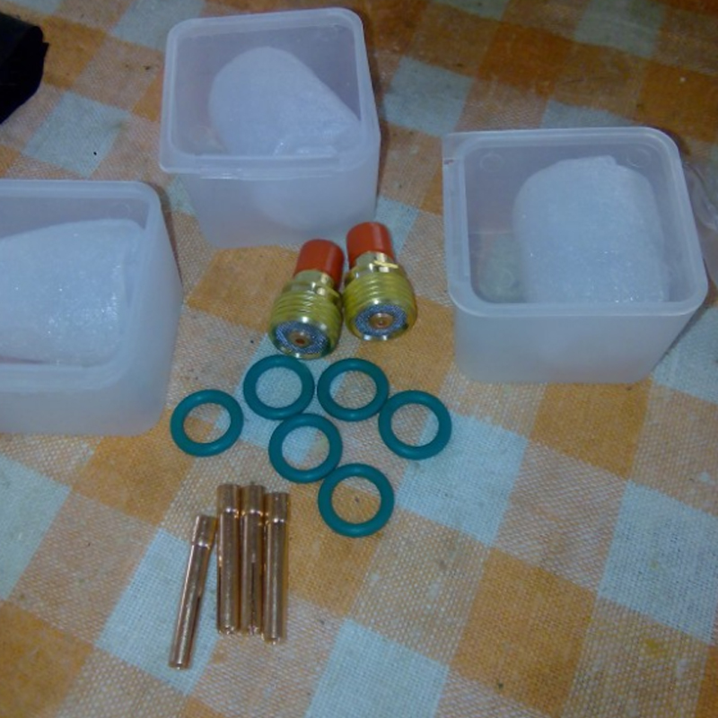 15pcs Glass Gas Lens Cup + Collets Body Stubby Gas Lens + Collets with O-rings For 1/16 WP-9/20/25 Series Tig Welding Torch