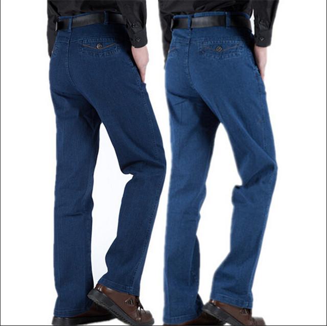 2016 nueva delgada hombres pantalones vaqueros rectos flojos lavados cintura elástica hombre vestido de algodón pantalones sólidos hombres Jeans tallas grandes 29-40