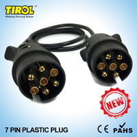 TIROL 7 Pin Plastic Plug Black Trailer Wiring Cable Connector 12 N Type X2 12N Plugs
