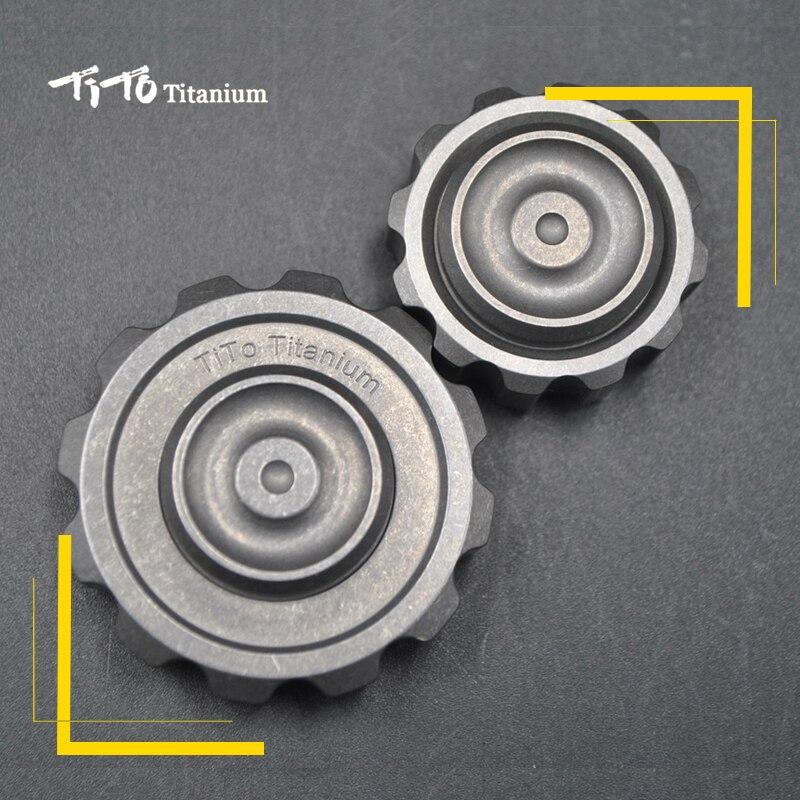 TiTo EDC titane spinner grand engrenage et petit engrenage gyroscope adulte Anti-Stress métal main jouet titane/Zr spinner