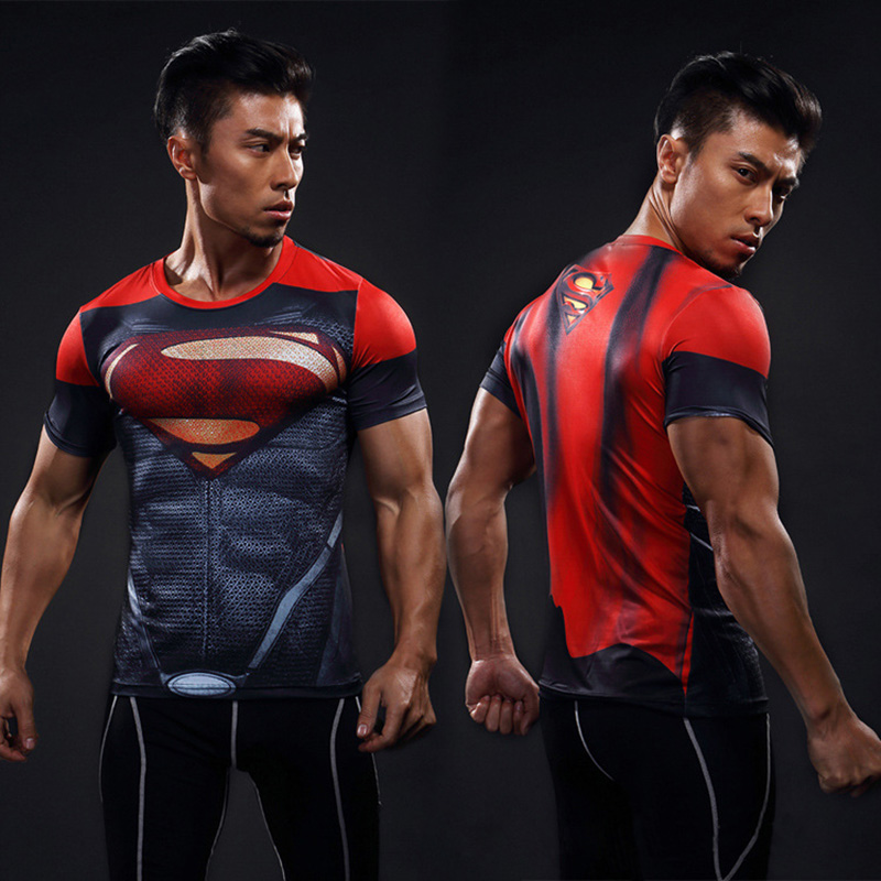 Superman Superhero Compression Shirt Men Women Cycling Base Layers Bicycle Short Sleeve Shirt Highly Breathbale Underwear Jersey