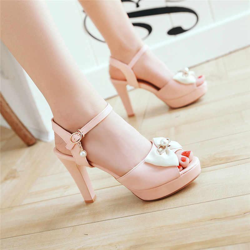 YMECHIC Women Cute Bow Sandals High