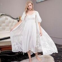 Sexy Kant Gewaad Lady White Lace Gewaad Pak Elegante Gewaad tweedelige Vrouwen Lange Badjassen Pak Hot koop