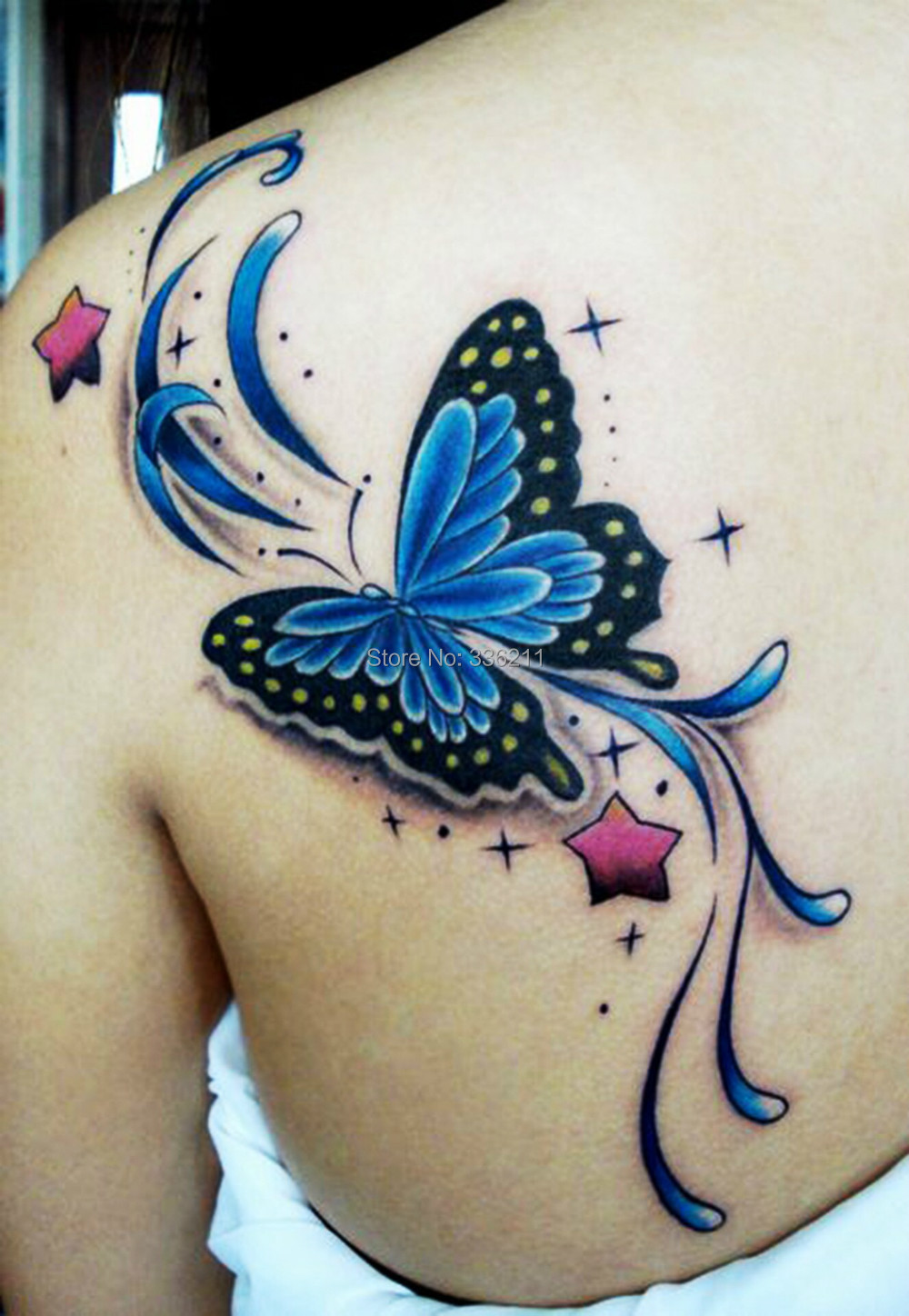 3pcs Large Big Blue Butterfly Design Temporary Tattoo Stickers