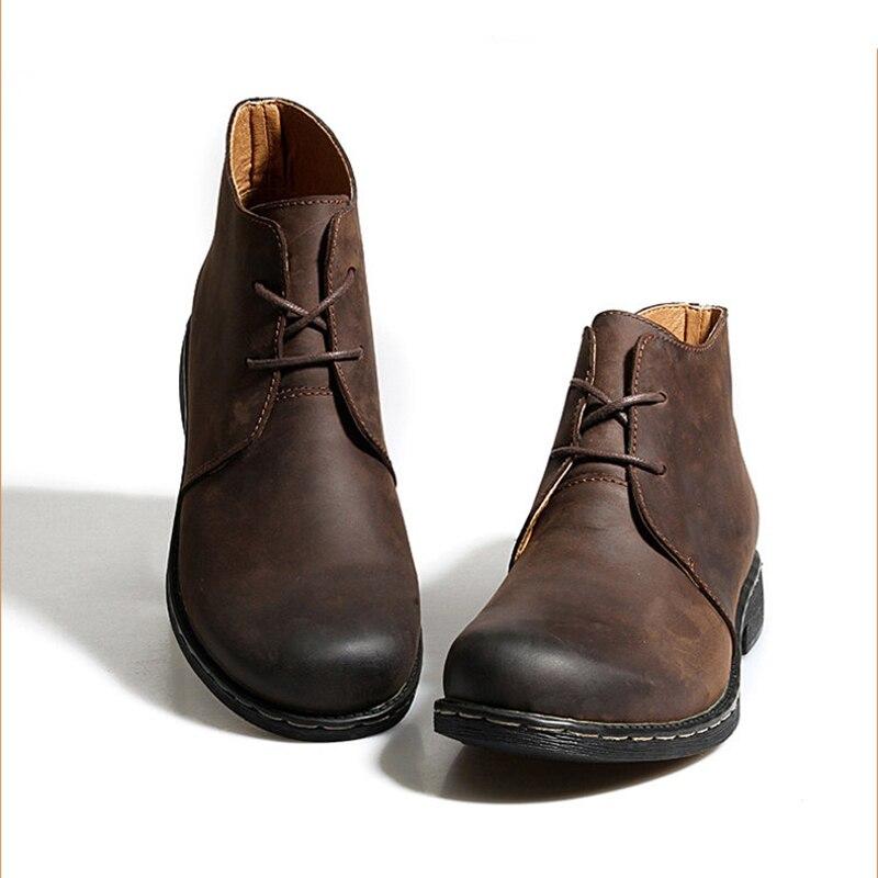 Bottes en cuir véritable Vintage britannique hommes bottes en cuir marron Martin pour homme automne hiver bottes de travail imperméables chaussures - 4