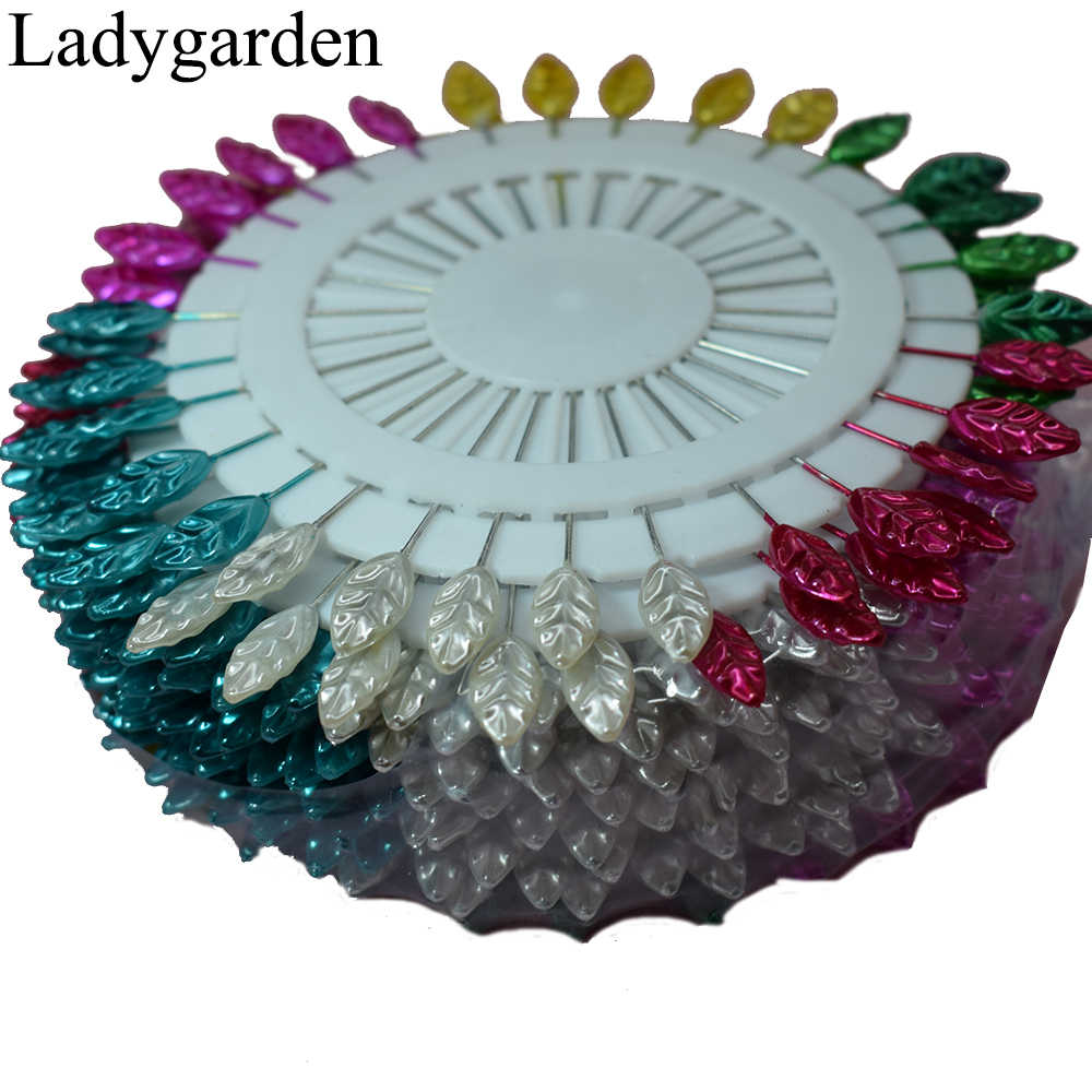 30pcs/set Cute Mixed Colors DIY Flower Leaf Head Pins Round Pearl Head Pins Decorative Sewing Tailoring Dressmaking Pin