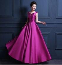 Günstige Maß Einfache Lange Satin Prom Kleider New Fashion Lace Up Sleeveless Braut Bankett Abendgesellschaft Kleider Kostenloser Versand