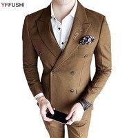 YFFUSHI Più Nuovi Uomini Vestito Vino Rosso Khaki Grigio Suits 3 Pezzi doppio Petto Abiti Da Sposa Per Uomo Inghilterra Stile Casual Slim Fit
