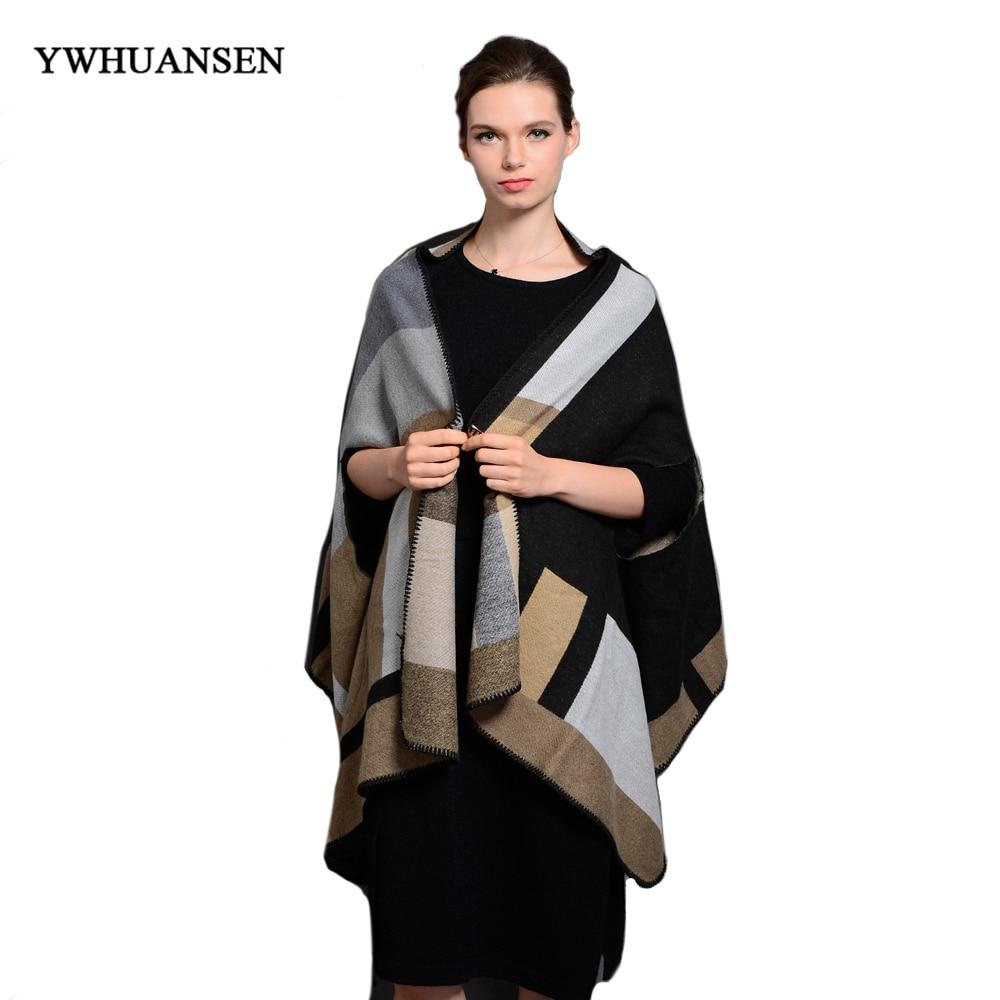 YWHUANSEN Brand New Plaid Women Pashmina Warm Scarf Female Winter Multifunctional Scarf For Lady Ponchos et Capes Designer Coat