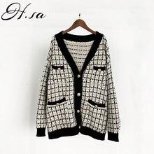 H. SA, женский свитер, куртка,, большой размер, вязаный кардиган, свободный, в клетку, джемперы, Корейская одежда, халат, длинное пальто, sueter feminino