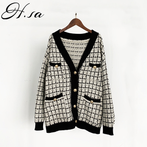 H.SA Women Sweater Jacket 2019 Oversized Knitted Cardigans Loose Plaid Jumpers Korean Clothing Robe Long Coat sueter feminino(China)
