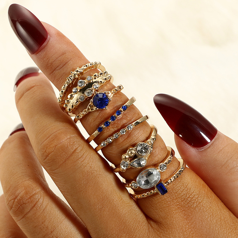 8 Pcs set Crystal Zircon Gold Ring Set Vintage Bohemian Women Engagement Party Ring Set Jewelry Gift in Rings from Jewelry Accessories