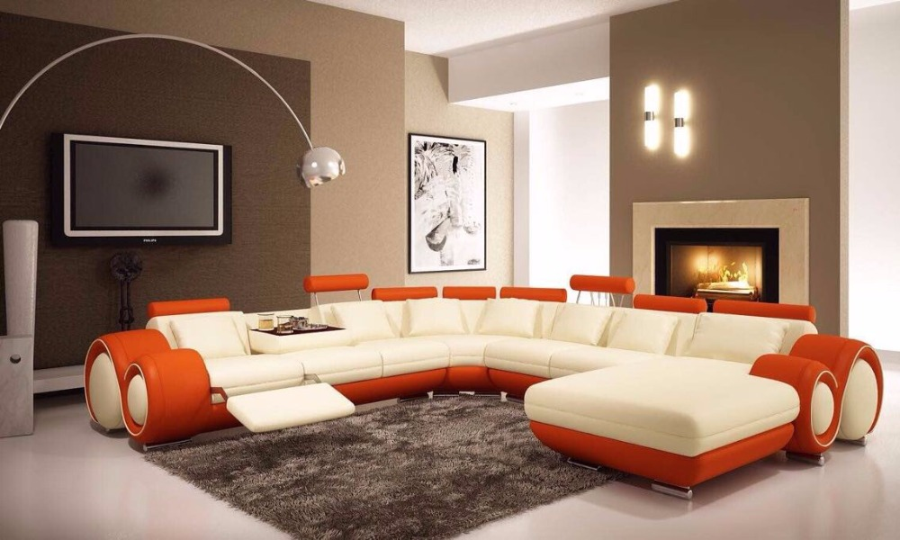 Modern Style Top Grade Import Leather Sofa Living Room U Shape Sofa Set. Popular Modern Furniture Importers Buy Cheap Modern Furniture