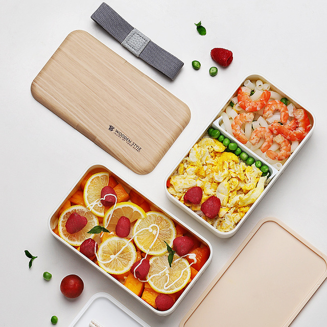 2 Layer Microwave Lunch Box Japanese Wood Bento Box for Kids Food Container Storage Portable School Picnic With Lunch Bag 1200ml 5