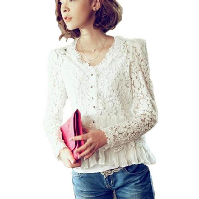 f00356e9e placeholder Novo 2015 moda mulheres branco Blusas Renda tecido de seda  camisa senhoras Blusa Renda com decote