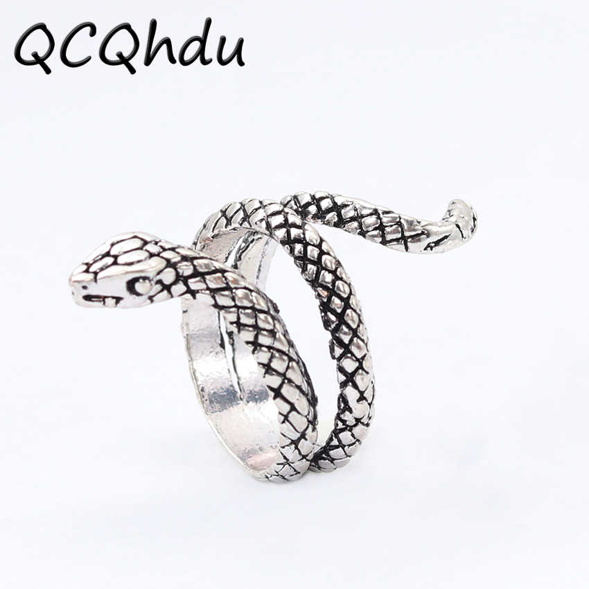1PC Vintage Snake Ring Plating Silver Color Heavy Metals Punk Rock Rings Retro Animal Ring