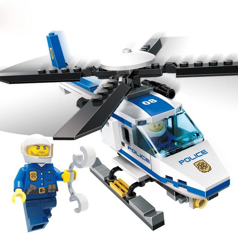 GUDI 9308 City Police Helicopter Blocks 111Pcs Bricks Building Blocks Enlighten DIY Figure Toys For Children Compatible Legoe