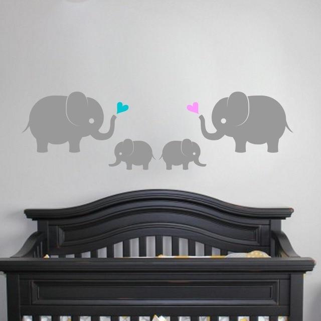 Elephant Family With Twins Wall Vinyl Decal Sticker 4 Elephants Hearts Baby  Girls Boys Nursery Elephant