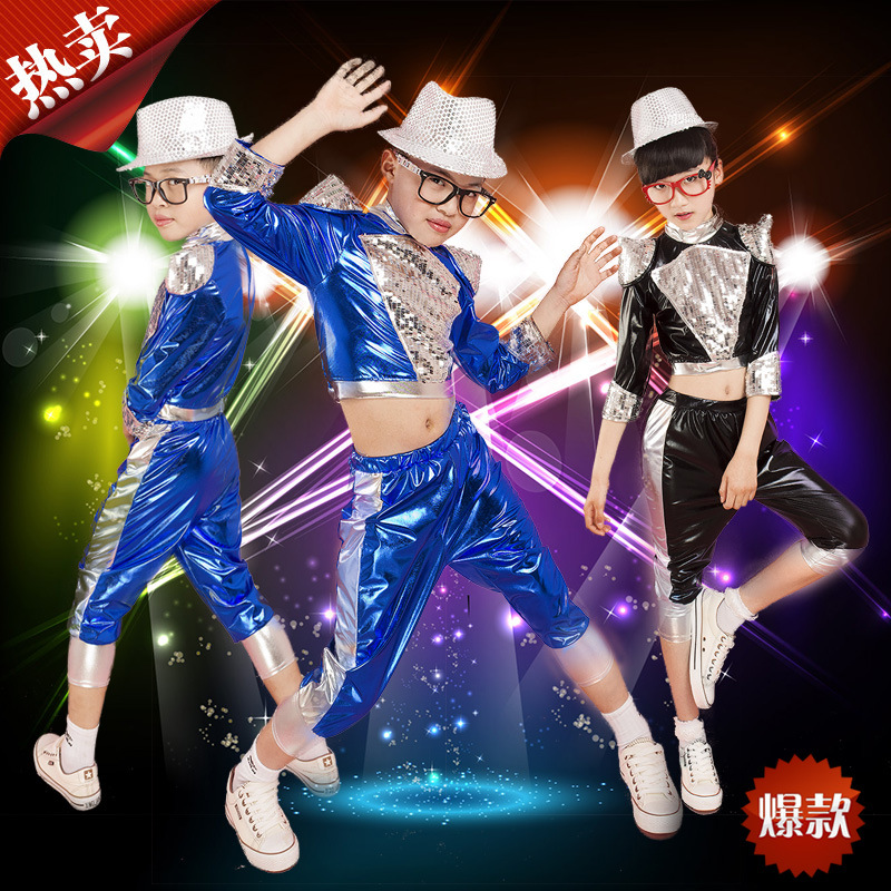 2018New Arrival Children Jazz Dance Costume Boy Hip-hop Costume Girl Modern Dance Clothing Male Drummer Wear Performance clothes