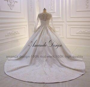 Image 5 - Amanda Design lazo para vestido de novia apliques perlas vestido de novia con manga larga