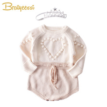 3D Ball Heart Baby Romper Knitted Baby Girl Clothes Jumpsuit Toddler Costume Long Sleeve Infant Onesie Baby Girl Romper 2018 baby girls clothes baby romper toddler infant baby girl cartoon pig love print long sleeve jumpsuit romper clothes jy24 f