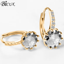 BICUX Small Crystal Silver Earrings for Women Fashion Cute Geometric Gold Cubic Zircon Women Tiny Stud Earring 2018 Jewelry(China)