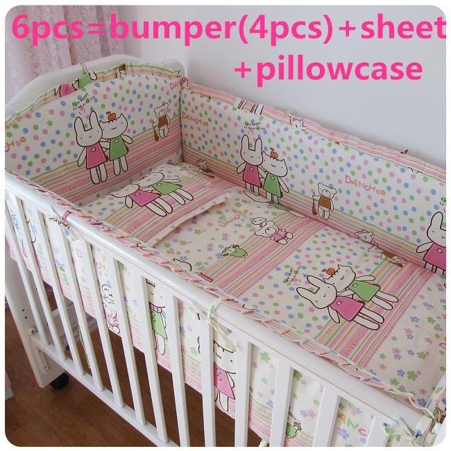 Promotion! 6/7PCS 100% Cotton Cute Cartoon Crib Set For Babies,Baby Bedding Set Unpick, ,120*60/120*70cm